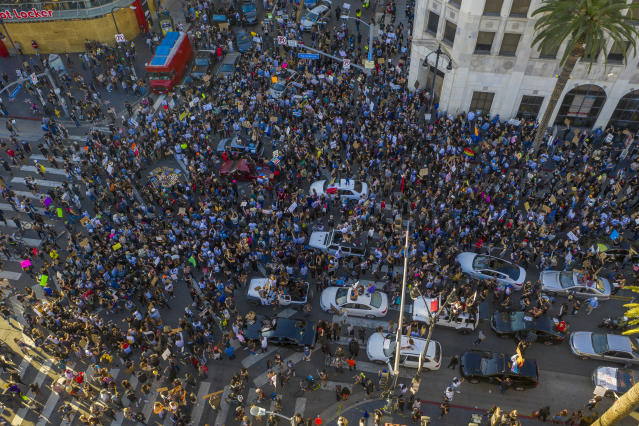 Protesters congregate in the Hollywood area of LA, California. An estimated 20,000 to 30,000 people marched to protest peacefully against racism and police violence. (David McNew/Getty Images)