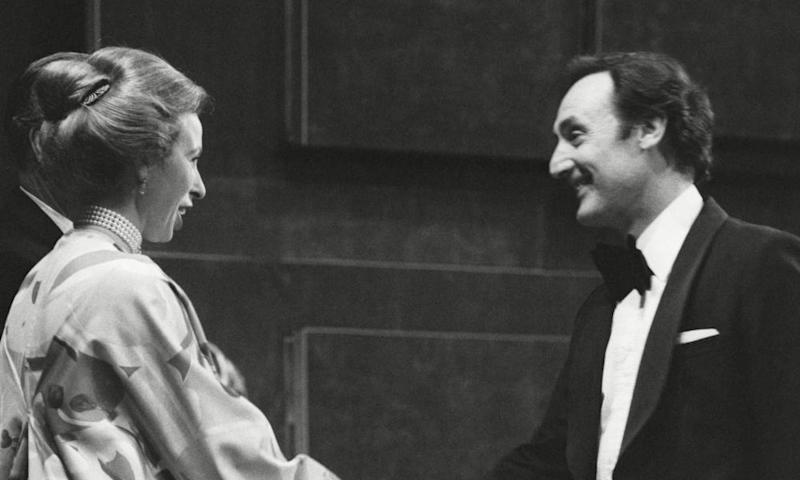 Sydney Lotterby accepting a Bafta award from Princess Anne in 1977.