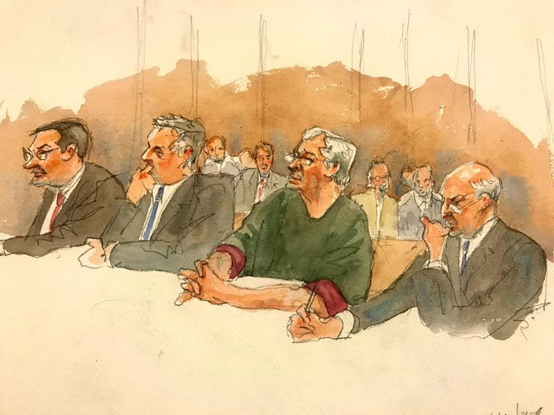 In this courtroom sketch, defendant Jeffrey Epstein, second from right, listens along with defense attorneys as a judge denies him bail during a hearing in federal court on July 18, 2019, in New York. (Photo: ASSOCIATED PRESS)