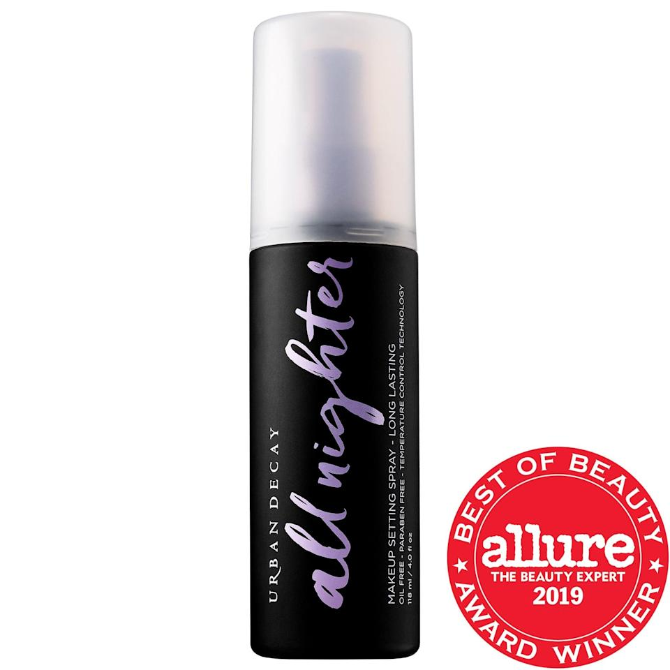 "<p>Arguably one of the most iconic makeup setting sprays, this <a href=""https://www.popsugar.com/buy/Urban-Decay-All-Nighter-Long-Lasting-Makeup-Setting-Spray-587073?p_name=Urban%20Decay%20All%20Nighter%20Long-Lasting%20Makeup%20Setting%20Spray&retailer=sephora.com&pid=587073&price=14&evar1=bella%3Aus&evar9=47597630&evar98=https%3A%2F%2Fwww.popsugar.com%2Ffashion%2Fphoto-gallery%2F47597630%2Fimage%2F47597644%2FUrban-Decay-All-Nighter-Long-Lasting-Makeup-Setting-Spray&list1=makeup%2Csephora%2Cbeauty%20shopping&prop13=api&pdata=1"" class=""link rapid-noclick-resp"" rel=""nofollow noopener"" target=""_blank"" data-ylk=""slk:Urban Decay All Nighter Long-Lasting Makeup Setting Spray"">Urban Decay All Nighter Long-Lasting Makeup Setting Spray</a> ($14-$42) has a whopping 542,000+ loves from others shoppers and more than 10,000 reviews. This one features a kaolin-clay-infused formula to keep complexions shine-free, but there's also the mineral-infused <a href=""https://www.popsugar.com/buy/Urban-Decay-All-Nighter-Pollution-Protection-Makeup-Setting-Spray-Environmental-Defense-587964?p_name=Urban%20Decay%20All%20Nighter%20Pollution%20Protection%20Makeup%20Setting%20Spray%20Environmental%20Defense&retailer=sephora.com&pid=587964&price=34&evar1=bella%3Aus&evar9=47597630&evar98=https%3A%2F%2Fwww.popsugar.com%2Ffashion%2Fphoto-gallery%2F47597630%2Fimage%2F47597644%2FUrban-Decay-All-Nighter-Long-Lasting-Makeup-Setting-Spray&list1=makeup%2Csephora%2Cbeauty%20shopping&prop13=api&pdata=1"" class=""link rapid-noclick-resp"" rel=""nofollow noopener"" target=""_blank"" data-ylk=""slk:Urban Decay All Nighter Pollution Protection Makeup Setting Spray Environmental Defense"">Urban Decay All Nighter Pollution Protection Makeup Setting Spray Environmental Defense</a> ($34) to shield against free radicals and pollution instead.</p>"