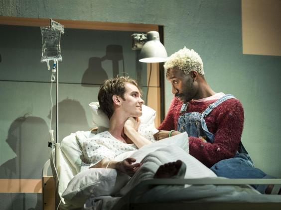 Andrew Garfield and Nathan Stewart-Jarre in 'Angels in America – Millennium Approaches' at the National Theatre, 2017 (Helen Maybanks)