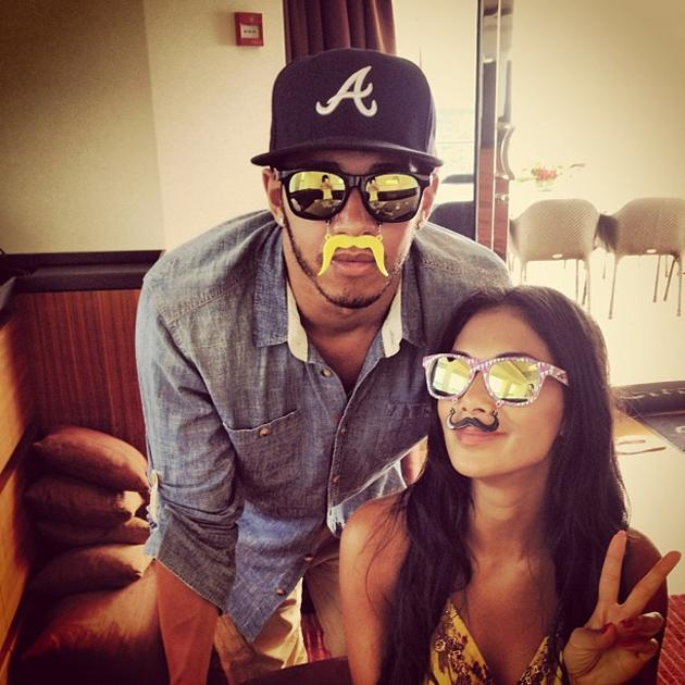 "Celebrity Twitpics: This week, Lewis Hamilton and Nicole Scherzinger put to bed any rumours of a split, by tweeting this funny photo. Lewis posted the picture on Twitter, showing him and Nicole wearing fake moustaches, along with the caption: ""Me & @nicolescherzy...don't know where she got these from but she wanted to rock them. Love to all the fans."""