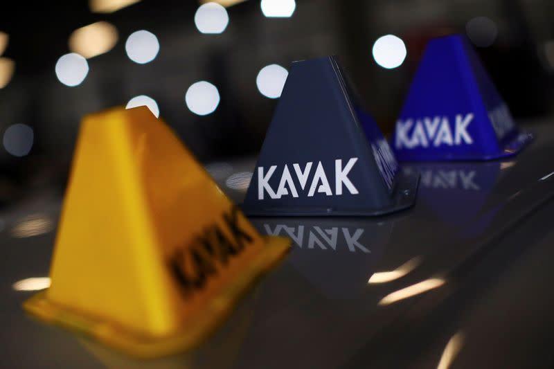 A logo of used autos platform Kavak is pictured on a car in Mexico City