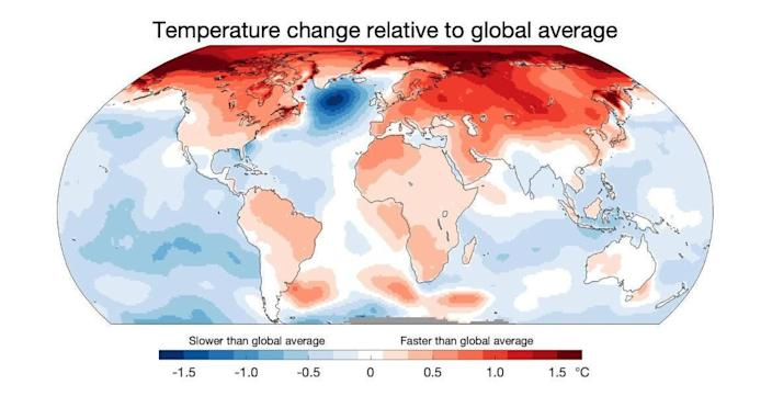 Map shows the relative warming of surface temperatures as compared to other parts of the planet. Areas in dark red are warming much faster than average, such as the Arctic. Areas in light blue are also warming, but more slowly than average. The region of dark blue near southern Greenland is not warming at all and has even cooled some. / Credit: Professor Ed Hawkins