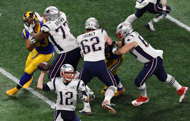 <p>Tom Brady of the New England Patriots passes against Los Angeles Rams in the first quarter of Super Bowl LIII at Mercedes-Benz Stadium in Atlanta, Georgia, on February 3, 2019. (Photo by Angela Weiss / AFP) </p>
