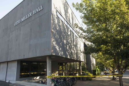 Police tape is seen at the scene of the previous day's shooting at Otto Miller Hall at Seattle Pacific University in Seattle