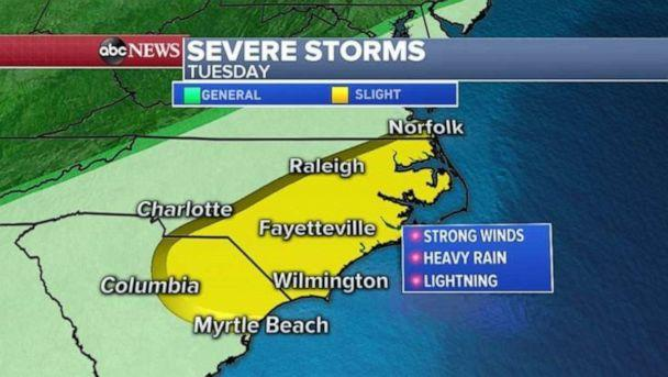 PHOTO: Severe weather is possible from Myrtle Beach, S.C., to Norfolk, Va., on Tuesday. (ABC News)