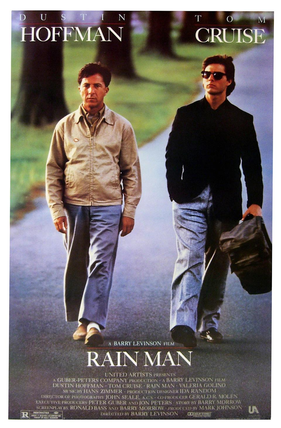 """""""Rain Man"""" starring Dustin Hoffman and Tom Cruise a 1988 American comedy-drama film. (Photo by: Universal History Archive/UIG via Getty images)"""