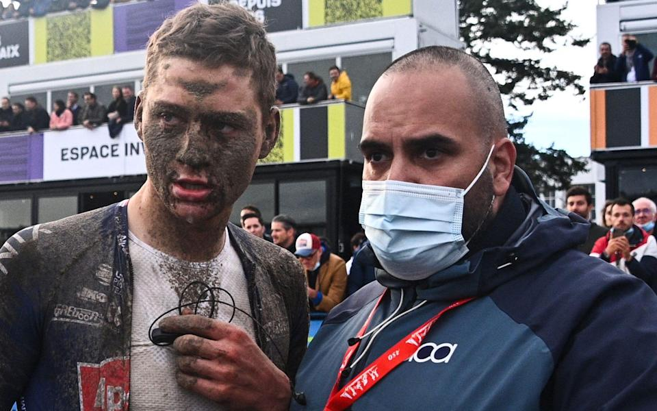 Mathieu van der Poel -Sonny Colbrelli claims chaotic edition of wet and muddy Paris-Roubaix ending 22-year wait for Italian winner - GETTY IMAGES