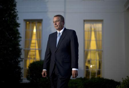 U.S. House Speaker John Boehner (R-OH) walks from a meeting with U.S. President Barack Obama, House Minority Leader Nancy Pelosi (D-CA), Senate Majority Leader Harry Reid (D-NV) and Senate Minority Leader Mitch McConnell (R-KY) outside the West Wing of the White House in Washington, October 2, 2013. REUTERS/Yuri Gripas