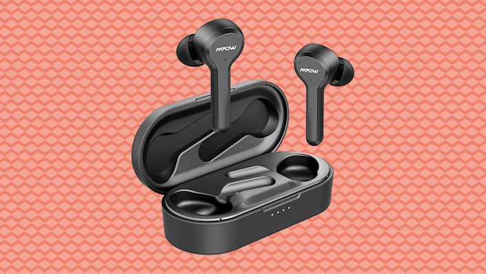 These wireless earbuds have four microphones for superior noise-canceling. (Photo: Amazon)
