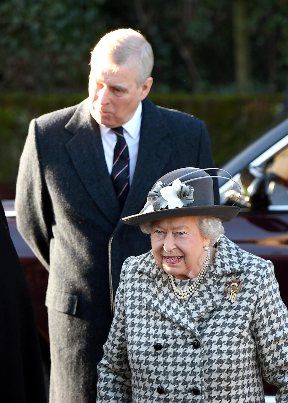 Queen Elizabeth II and Prince Andrew, Duke of York attend church at St Mary the Virgin church, Hillington in Sandringham on January 19, 2020 in King's Lynn, England.