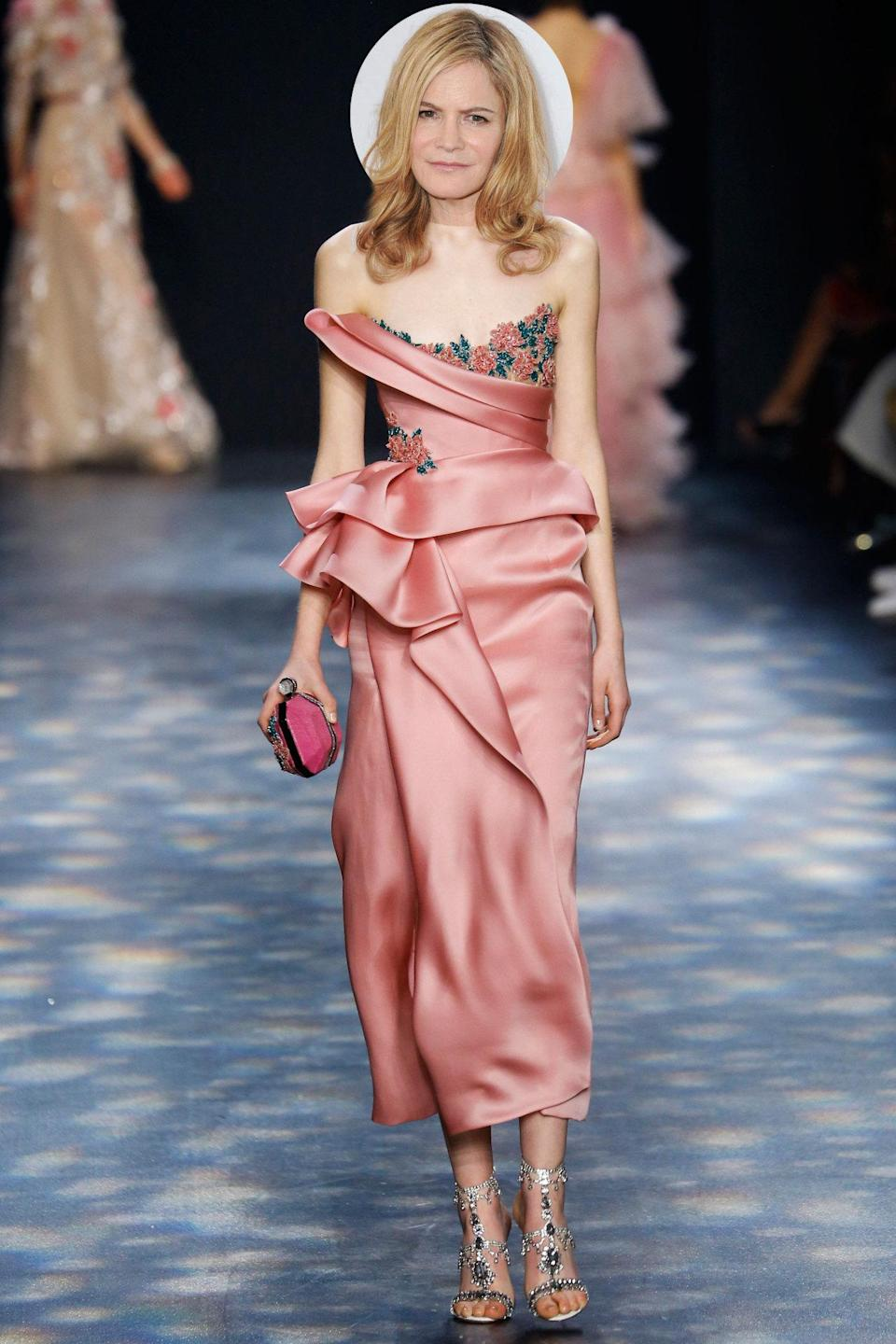<p>The <i>Hateful Eight</i> actress would look sublime in this showstopping, hot-off-the-runway pink-and-floral frock from Marchesa's fall 2016 collection.</p>