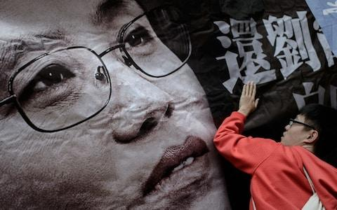 Campaigners across the globe have fought for Liu Xia's freedom - this banner is from a march in Hong Kong  - Credit: Philippe Lopez/AFP/Getty Images