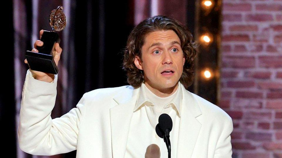 Aaron Tveit accepts the award for best actor in a leading role in a musical for Moulin Rouge! The Musical