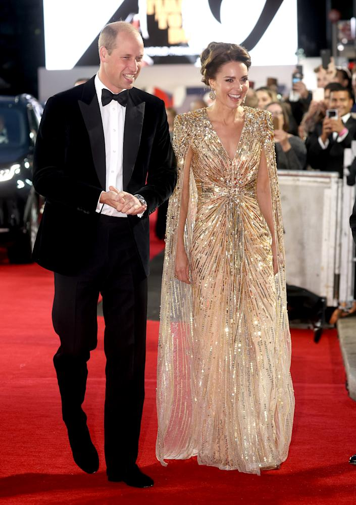 Sorry Will, all eyes were on the Duchess in this stunning Goldfinger inspired dress.  (Getty Images)