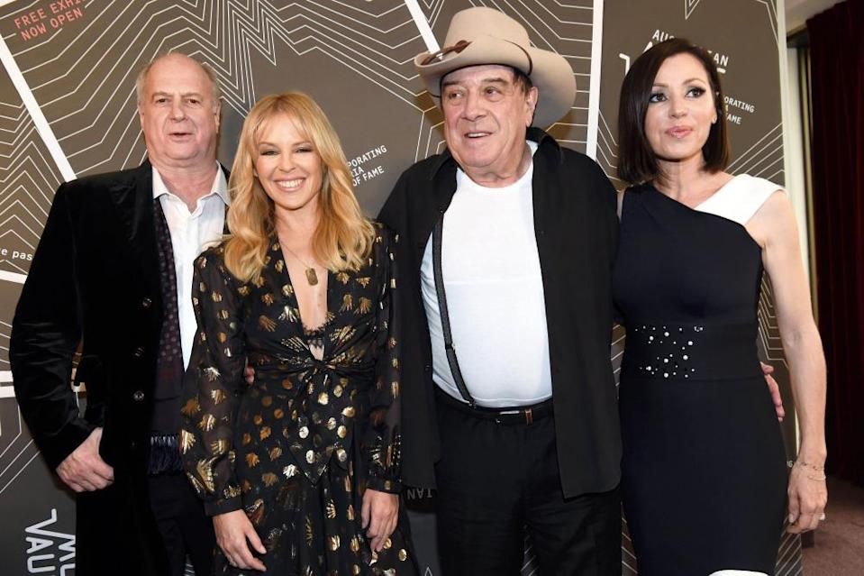 Michael Gudinski, Kylie Minogue, Molly Meldrum and Tina Arena in December 2017.