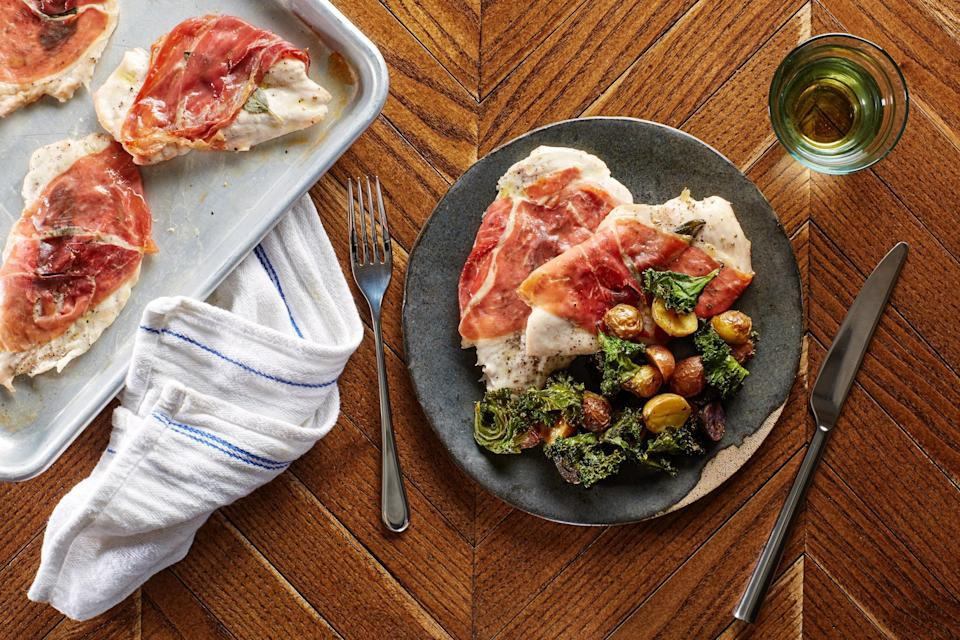 """Looks fancy, cooks easy. This entire Italian-inspired dinner is cooked on two baking sheets, so dish duty is quick. <a href=""""https://www.epicurious.com/recipes/food/views/sheet-pan-chicken-saltimbocca-with-roasted-potatoes-and-crispy-kale-56390004?mbid=synd_yahoo_rss"""" rel=""""nofollow noopener"""" target=""""_blank"""" data-ylk=""""slk:See recipe."""" class=""""link rapid-noclick-resp"""">See recipe.</a>"""