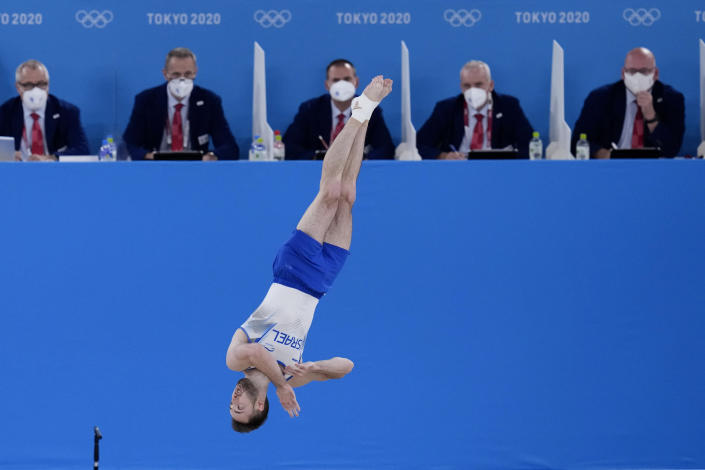 Artem Dolgopyat of Israel, performs on the floor exercise during the artistic gymnastics men's apparatus final at the 2020 Summer Olympics, Sunday, Aug. 1, 2021, in Tokyo, Japan. (AP Photo/Gregory Bull)