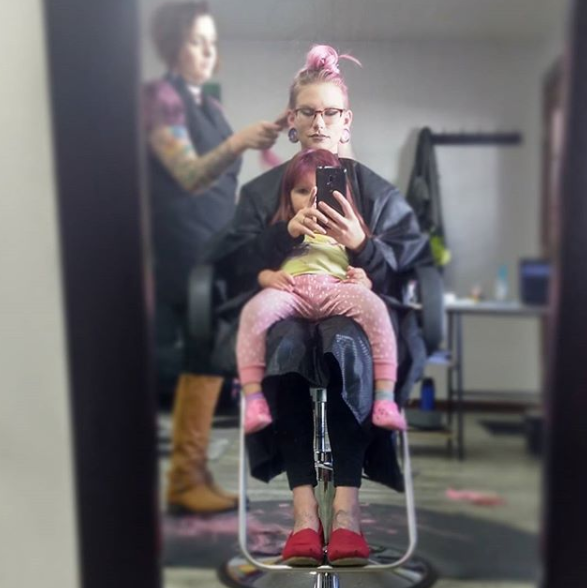Amy says pink hair is the norm for BellaMae, thanks to her own hair choices. Photo: Instagram