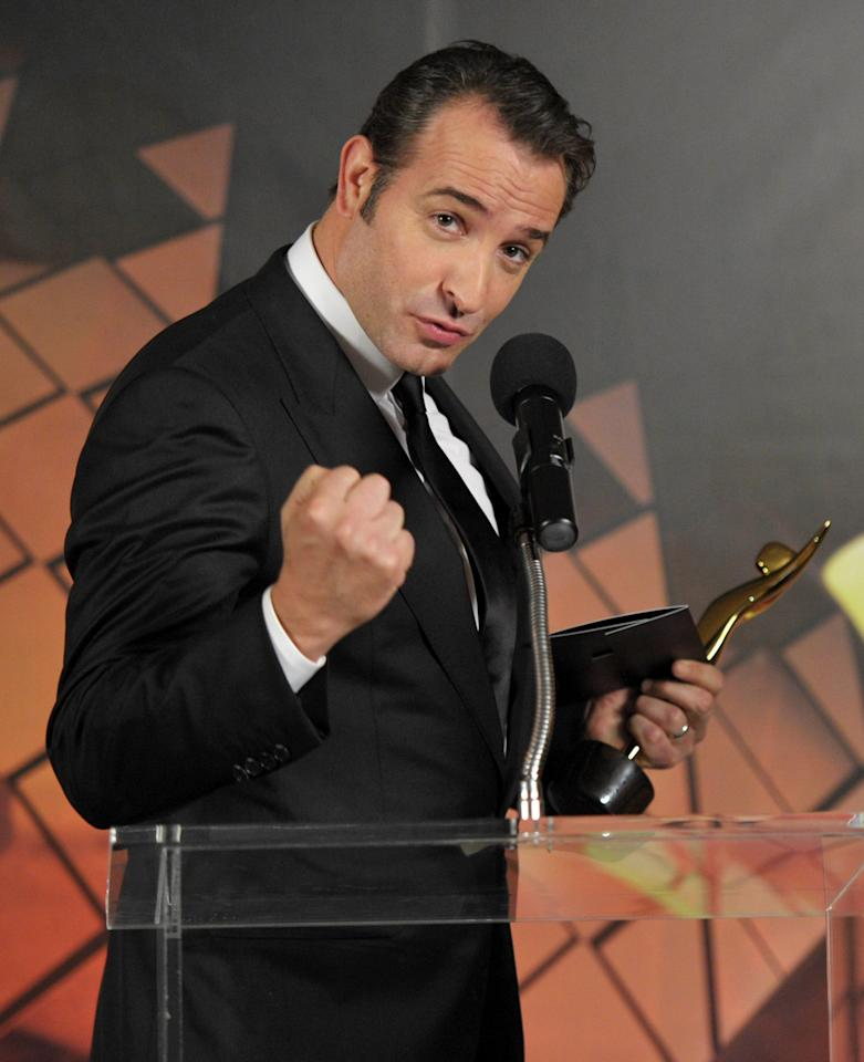 WEST HOLLYWOOD, CA - JANUARY 27:  Actor Jean Dujardin accepts the Best Actor award during the Australian Academy Of Cinema And Television Arts International Awards Ceremony at Soho House on January 27, 2012 in West Hollywood, California.  (Photo by John Shearer/Getty Images)