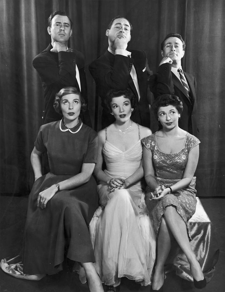 1954:  Group portrait of the cast of American comedian Sid Caesar's television series, 'Caesar's Hour'. Front, L-R (front): Virginia Curtis, Nanette Fabray, Ellen Parker, (back) Carl Reiner, Sid Caesar, and Howard Morris.  (Photo by Hulton Archive/Getty Images)