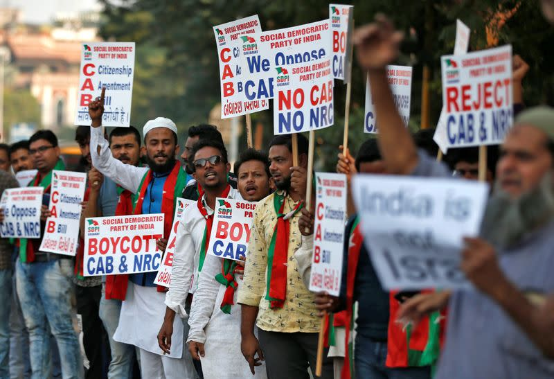 Demonstrators protest against the Citizenship Amendment Bill in Ahmedabad