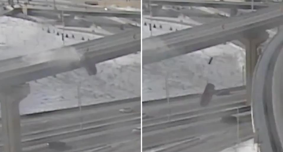 A truck falls from a motorway overpass in Milwaukee.