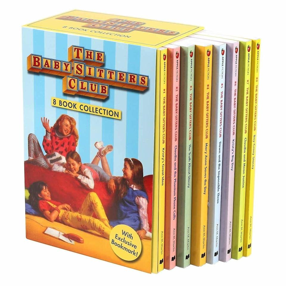 Baby-Sitters Club box set with colorful spines, cover featuring girls chatting in bedroom