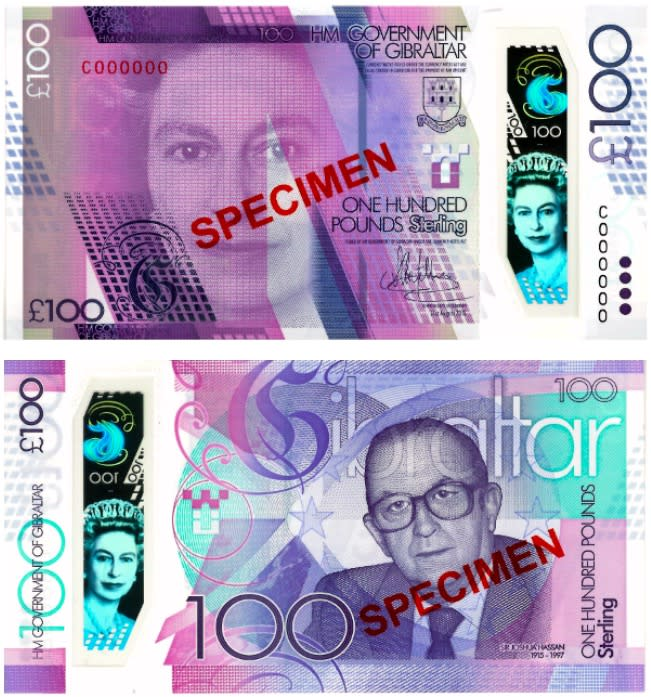<p>100 sterline di Gibilterra (foto: International Bank Note Society) </p>