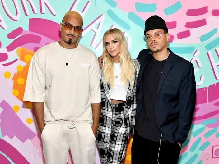 Umar Kamani, Ashlee Simpson Ross, and Evan Ross attend the boohoo NYFW celebration at the boohoo Mansion on September 11, 2019 in New York City.