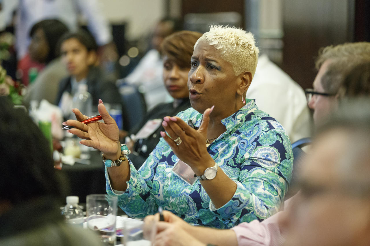 IMAGE DISTRIBUTED FOR AIDS HEALTHCARE FOUNDATION - Dr. Bambi Gaddist, Executive Director, Joseph H. Neal Wellness Center in Columbia, SC joins close to 100 attendees at the STD Emergency Call to Action Summit held at the Atlanta Airport Marriott Gateway Hotel on Monday, May 21, 2018 in Atlanta, hosted by AIDS Healthcare Foundation. (Paul Abell/AP Images for AIDS Healthcare Foundation)