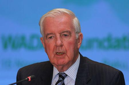Craig Reedie, President of the World Anti-Doping Agency, attends a news conference in Baku