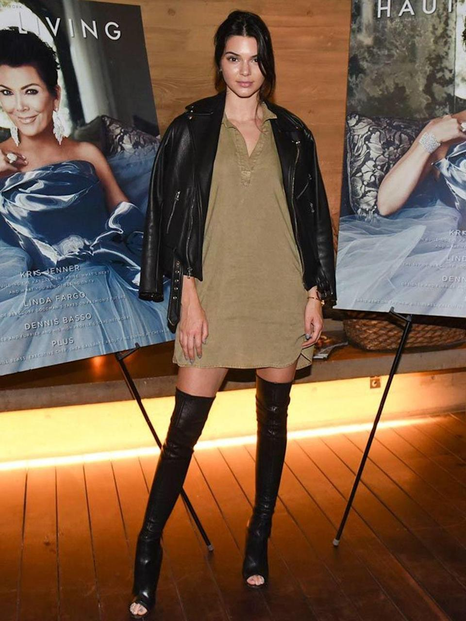 <p>Kendall Jenner wore these killer boots to a fashion party in LA, August 2015.</p>