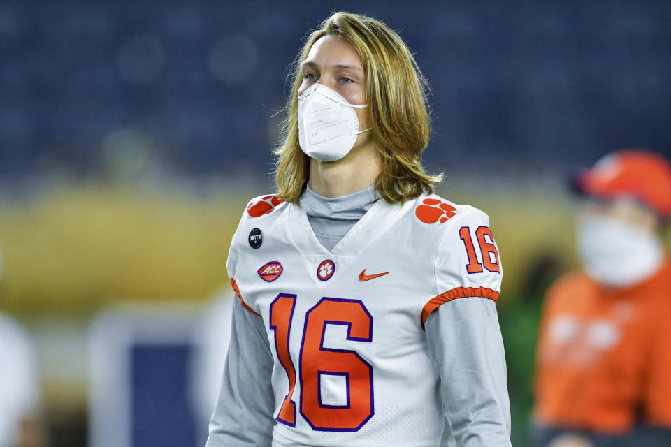 Clemson quarterback Trevor Lawrence will be back in action this week after watching his team lost to Notre Dame. (Matt Cashore/Pool Photo via AP)