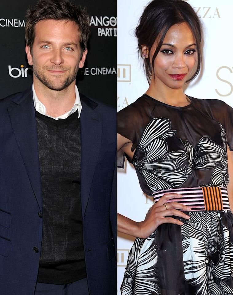 """<i>Star</i> magazine reports that Bradley Cooper has """"set his sights on sexy co-star Zoe Saldana."""" According to the magazine, Saldana and Cooper, who star in the upcoming film, """"The Words,"""" have been """"getting very up close and personal."""" Although Saldana has had a boyfriend for 10 years, <i>Star</i> observes they're """"unhappy."""" For what Saldana plans to do about her boyfriend, and the full dish on her relationship with Cooper, check out what one of her pals tells <a href=""""http://www.gossipcop.com/bradley-cooper-zoe-saldana-hooking-up-dating-the-words/"""" target=""""new"""">Gossip Cop</a>. Dimitrios Kambouris/WireImage.com, Dominique Charriau/WireImage.com"""