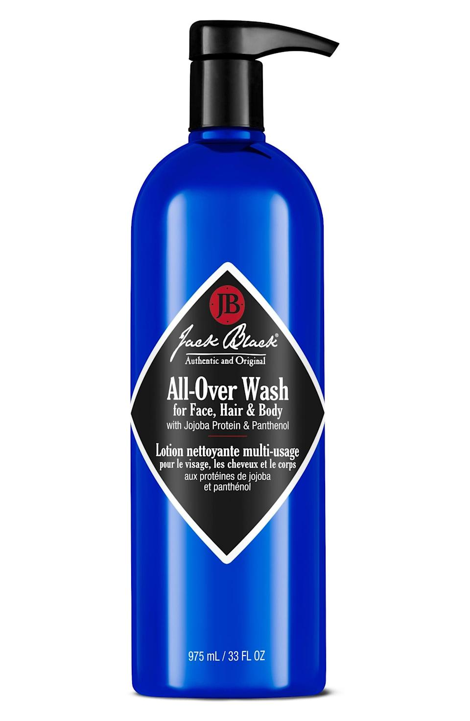 <p>We love this <span>Jack Black All-Over Wash</span> ($21) because it takes care of all of your body's cleansing needs by combining everything - shampoo, body wash, and cleanser - into one nourishing, multitasking product that leaves both the skin and hair feeling baby soft.</p>