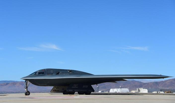 A B-2 Stealth Bomber pulls up on the runway after landing at the Palmdale Aircraft Integration Center of Excellence in California in July 2014 (AFP via Getty Images)