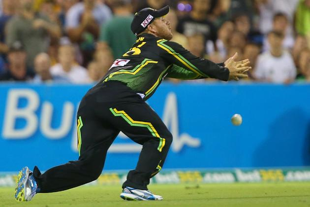 BRISBANE, AUSTRALIA - FEBRUARY 13:  Aaron Finch of Australia drops a catch during the International Twenty20 match between Australia and the West Indies at The Gabba on February 13, 2013 in Brisbane, Australia.  (Photo by Chris Hyde/Getty Images)