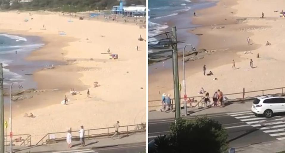 Swimmers on the beach in Maroubra despite it being closed on Sunday. Source: Supplied