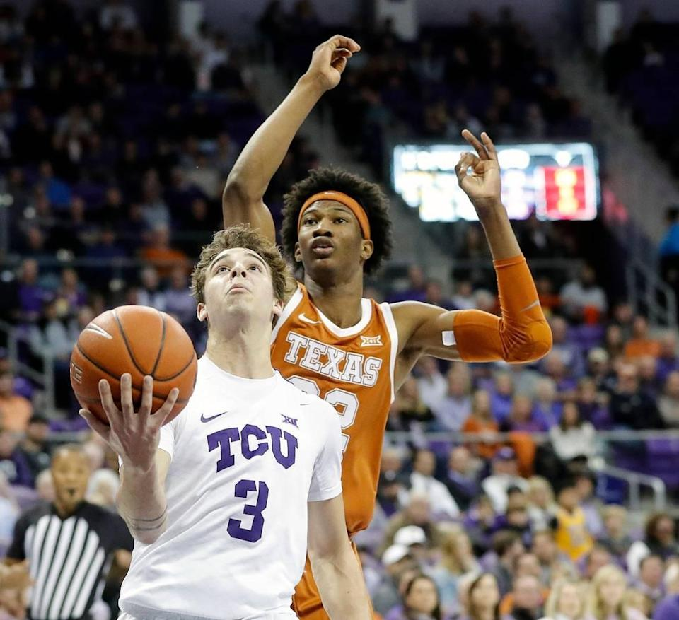 TCU guard Francisco Farabello (3) puts a shot up in front of Texas forward Kai Jones (22) in the second half of a NCAA basketball game at Schollmaier Arena in Fort Worth, Texas, Jan. 29, 2020. Texas defeated TCU 62-61. (Special to the Star-Telegram Bob Booth)