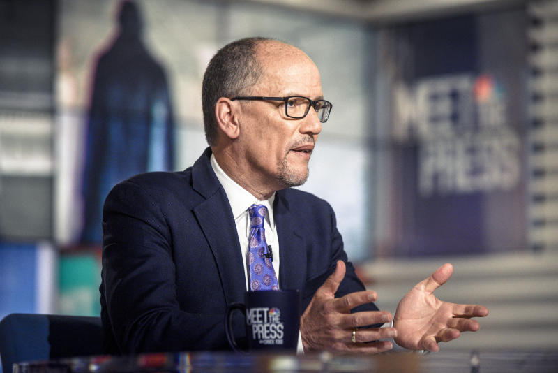 """Tom Perez, chair of the Democratic National Committee, introduced the new resolution to """"support fossil fuel workers."""" (NBC NewsWire via Getty Images)"""