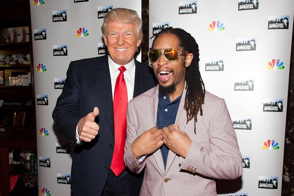 "Donald Trump and Lil Jon attend the ""All Star Celebrity Apprentice"" red carpet event in 2013. (D Dipasupil via Getty Images)"