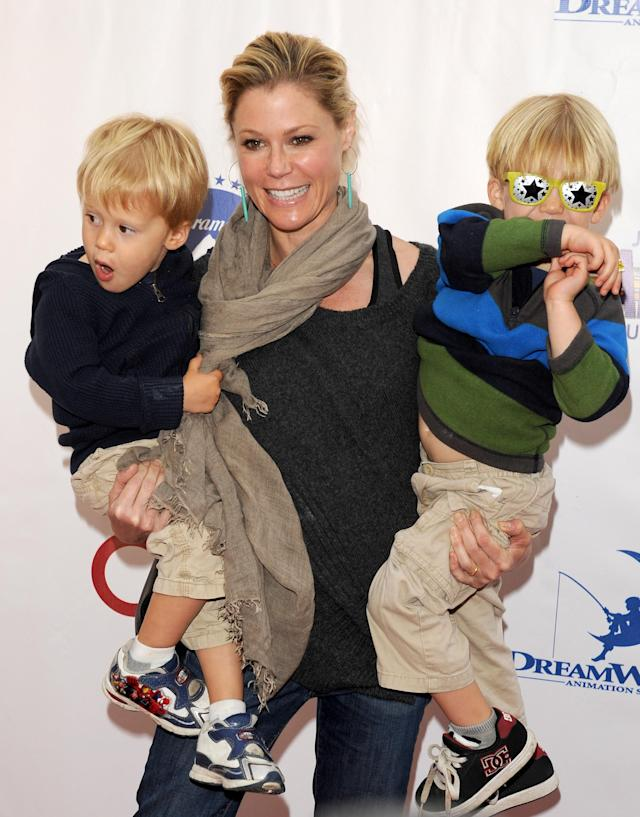 Julie Bowen is a real-life mom to twins (pictured). She won an Emmy but it is in a state of disrepair after her kids accidentally broke the trophy. (Photo by JB Lacroix/WireImage)