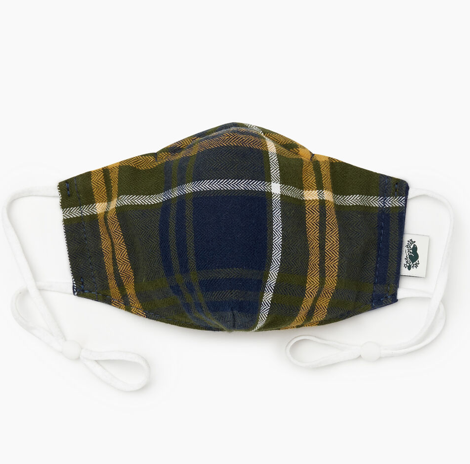 Plaid Reusable Face Mask in Navy Blazer. Image via Roots.