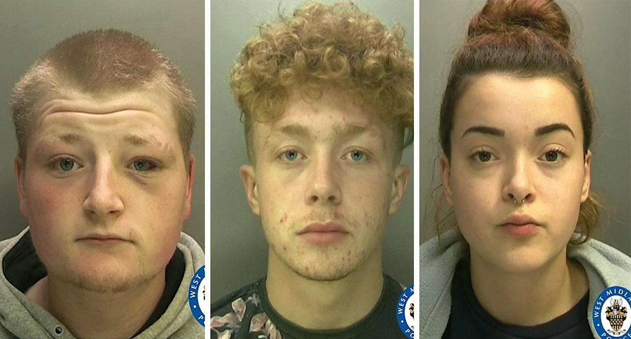 Kyle Ashton, left, and Christopher and Lucy Pyatt-Pierce, who have all been jailed for the attack. (West Midlands Police/SWNS)