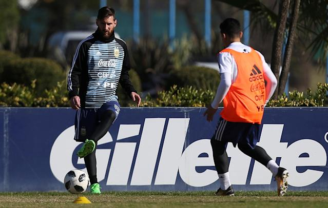 Football Soccer - Argentina's national soccer team training - World Cup 2018 - Buenos Aires, Argentina - May 24, 2018 - Lionel Messi of Argentina during a training session. REUTERS/Agustin Marcarian