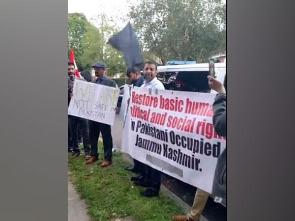 Protest held outside Pakistan High Commissioner's residence in London earlier on Sunday