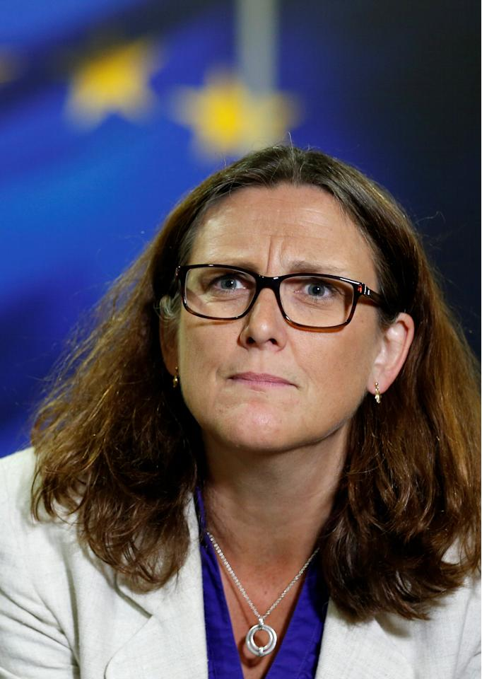 European Trade Commissioner Cecilia Malmstrom looks on during an interview with Reuters at the EU Commission headquarters in Brussels, Belgium, July 20, 2017.  REUTERS/Francois Lenoir