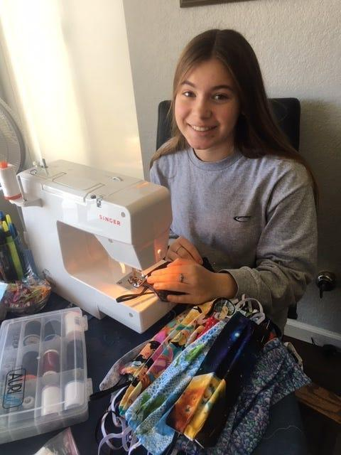 Ryann Avery, 15, of Oceanside, Calif., is one of thousands of volunteers across the country making masks and donating them to those in need.